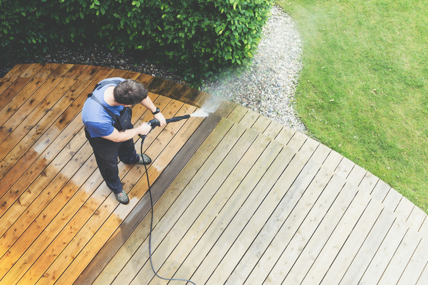 Decking area being cleaned.